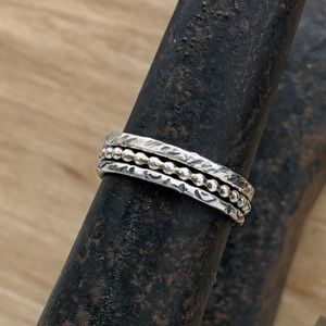 3 antiqued sterling silver stacking rings